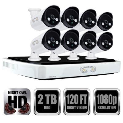 8-Channel Full 1080p Network Video Recorder with 2TB HDD and 8 Night Vision 1080p HD IP Cameras
