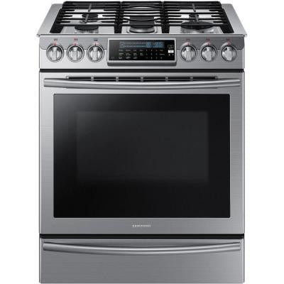 30 in. 5.8 cu. ft. Slide-In Gas Range with Self-Cleaning Convection Oven in Stainless Steel