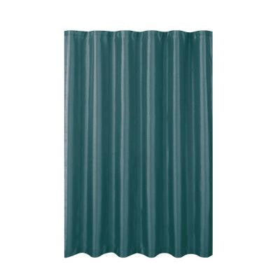 Jane Faux Silk 70 in. W x 72 in. L Shower Curtain with Metal Roller Hooks in Grey Teal
