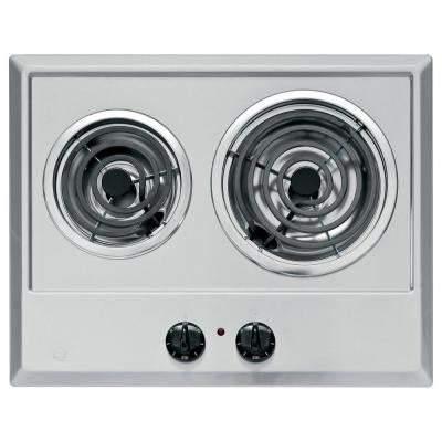 21 in. Coil Electric Cooktop in Stainless Steel with 2 Elements