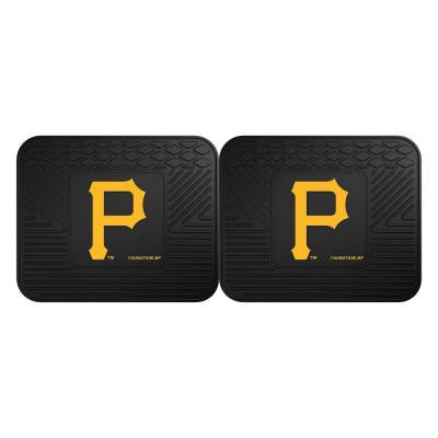 MLB Pittsburgh Pirates Black Heavy Duty 2-Piece 14 in. x 17 in. Vinyl Utility Mat