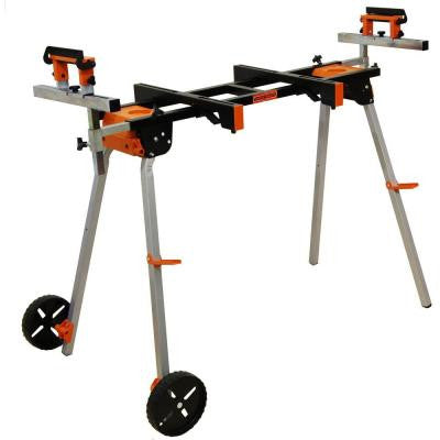 Mobile Miter Saw Stand with 3 Onboard Outlets and Mounting Attachments