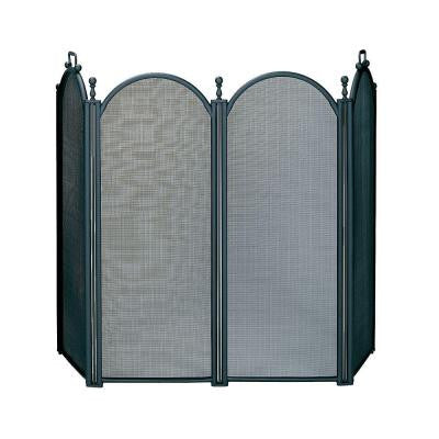 Black Large Diameter 4-Panel Fireplace Screen with Woven Mesh