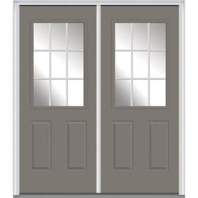 60 in. x 80 in. Classic Clear Glass GBG 1/2-Lite Painted Builder's Choice Steel Double Prehung Front Door