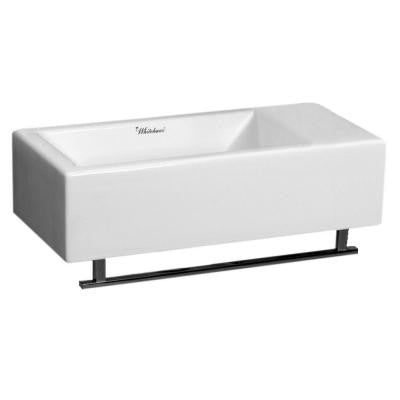 Isabella Wall-Mounted Bathroom Sink in White with Towel Bar