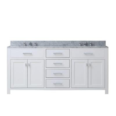 72 in. W x 21 in. D Vanity in White with Marble Vanity Top in Carrara White and Chrome Faucets