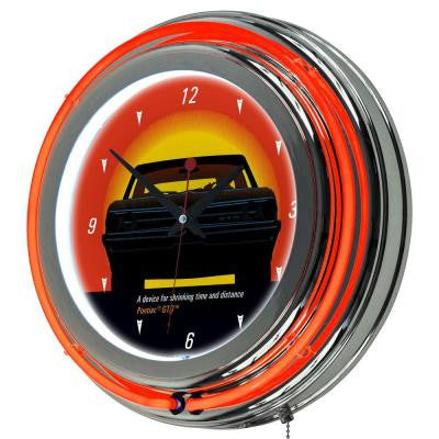 14 in. Pontiac GTO Time and Distance Double Ring Neon Wall Clock