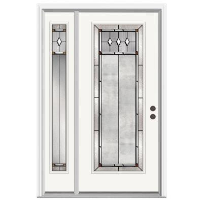 36 in. x 80 in. Mission Prairie Full Lite Primed Premium Steel Prehung Front Door with Left Hand Sidelite