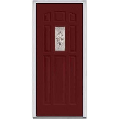 32 in. x 80 in. Heirloom Master Decorative Glass 1/4 Lite Painted Majestic Steel Prehung Front Door