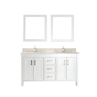 Dawlish 60 in. Vanity in White with Marble Vanity Top in Beige and Mirror
