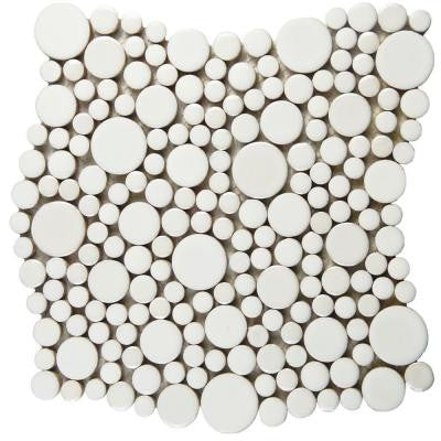 Cosmo Bubble White 11-1/4 in. x 12 in. x 8 mm Porcelain Mosaic Tile