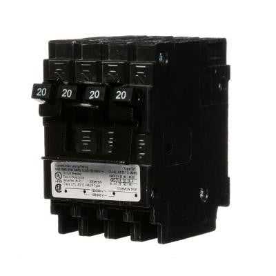 Quadplex One Outer 20 Amp Double-Pole and One Inner 20 Amp Double-Pole-Circuit Breaker