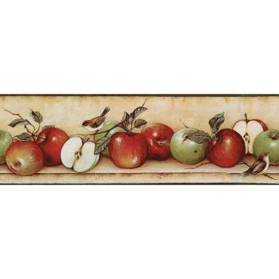 6.83 in. x 15 ft. Red and Green Apples and Birds Border