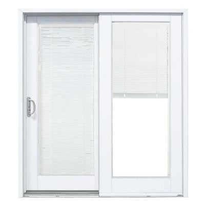 60 in. x 80 in. Composite White Left-Hand Smooth Interior with Blinds Between Glass Sliding Patio Door