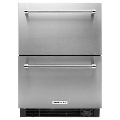 4.7 cu. ft. Freezerless Refrigerator Double Drawer in Stainless Steel, Counter Depth