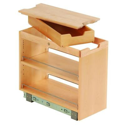 10-3/4x19-1/2x22-1/8 in. FINDIT Birch Kitchen Storage Organization Base Cabinet Pullout with Slide and Cutting Board