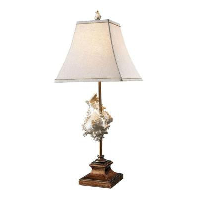Delray 30 in. Conch Shell and Bronze Table Lamp with Shade