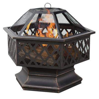 24 in. Hex Shaped Lattice Fire Pit in Oil Rubbed Bronze