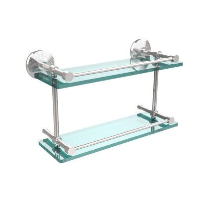 Monte Carlo 5 in. W x 16 in. L Double Glass Shelf with Gallery Rail in Polished Chrome