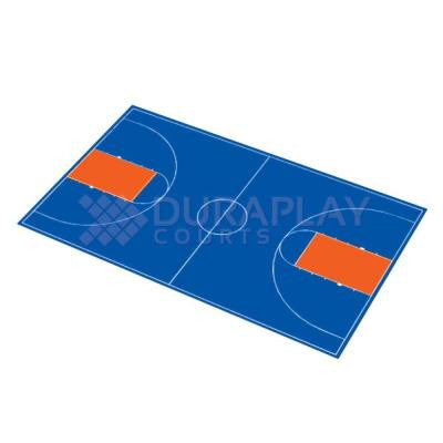 51 ft. x 83 ft. 11 in. Royal Blue and Orange Full Court Basketball Kit