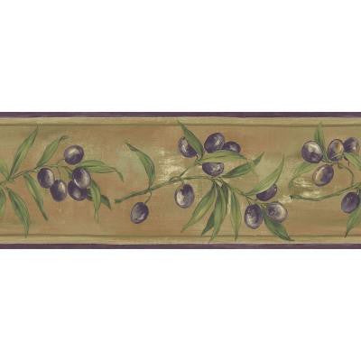6.83 in. x 15 ft. Earth Tone Olive Scroll Border