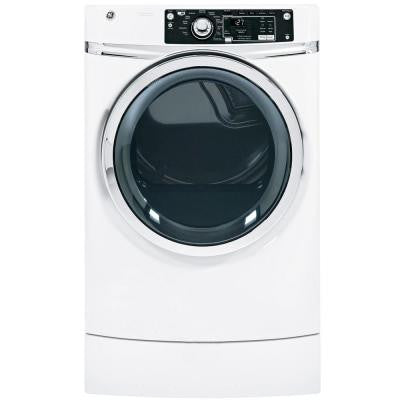 8.1 cu. ft. RightHeight Front Load Electric Dryer with Steam in White, Pedestal Included