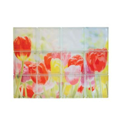 32 in. x 24 in. x 4 in. Decora Pattern Tulips Glass Blocks Mural