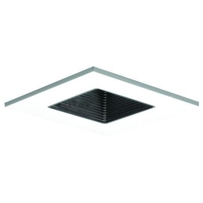 3 in. White Recessed Lighting Square Shower Trim with Regresses Lens and Black Baffle