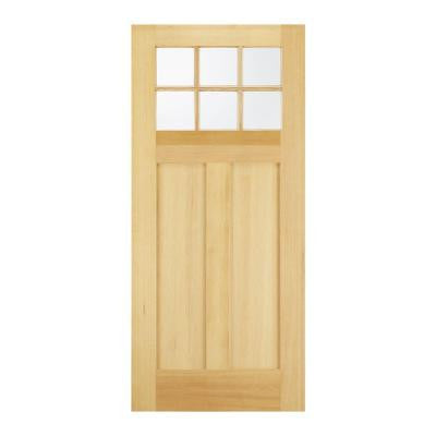 32 in. x 80 in. Craftsman 6 Lite Unfinished Hemlock Front Door Slab