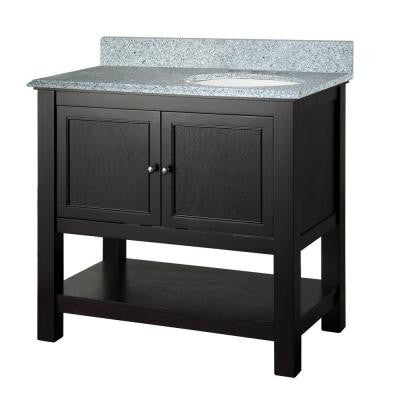 Gazette 37 in. W x 22 in. D Vanity in Espresso with Granite Vanity Top in Napoli with White Right Offset Basin