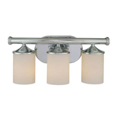 3-Light Chrome Vanity Light with Etched White Glass