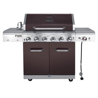 Deluxe 6-Burner Gas Grill In Mocha with Ceramic Searing Side Burner