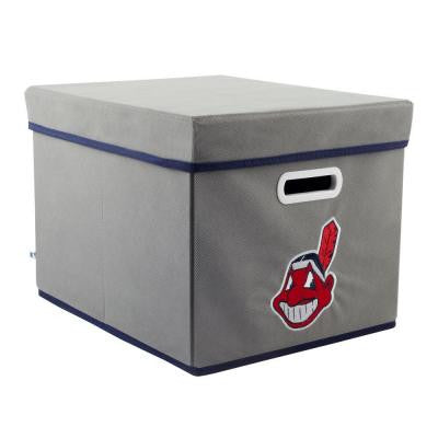 MLB STACKITS Cleveland Indians 12 in. x 10 in. x 15 in. Stackable Grey Fabric Storage Cube
