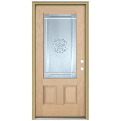 36 in. x 80 in. Lone Star 3/4 Lite Unfinished Hemlock Wood Prehung Front Door with Brickmould and Zinc Caming