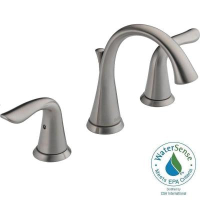 Lahara 8 in. Widespread 2-Handle High-Arc Bathroom Faucet in Stainless Featuring Diamond Seal Technology