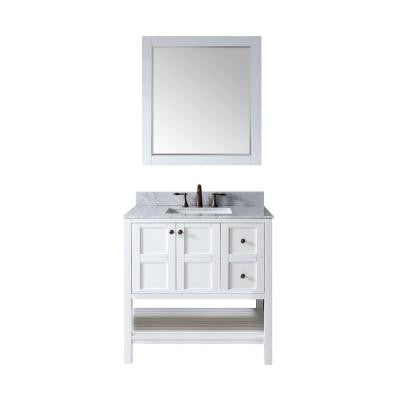 Winterfell 36 in. Vanity in White with Marble Vanity Top in Italian Carrara White and Mirror