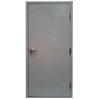 36 in. W x 80 in. H Gray Flush Entrance Primed Steel Prehung Commercial Door with Hardware