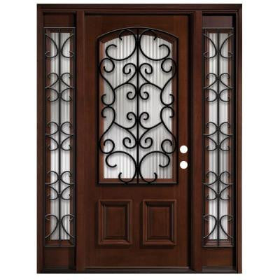 68 in. x 80 in. Iron Grille 3/4- Arch Lite Stained Mahogany Wood with Sidelites