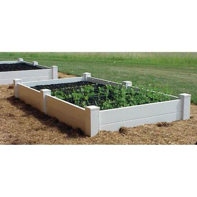 96 in. L x 48 in. W x 14 in. H White Vinyl 2-Level Raised Planter Bed