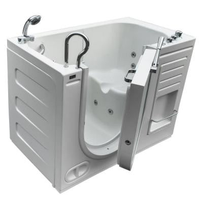 HydroLife 4.27 ft. Left Drain Walk-In Heated Whirlpool Tub in White