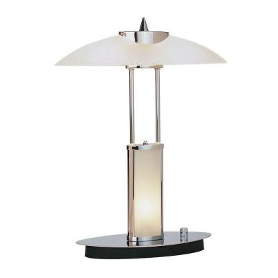 Designer Collection 17.5 in. Chrome Desk Lamp with Frost Glass Shade