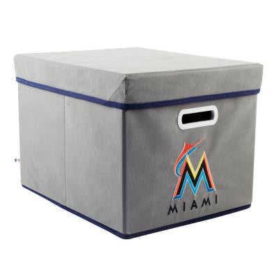 MLB STACKITS Miami Marlins 12 in. x 10 in. x 15 in. Stackable Grey Fabric Storage Cube