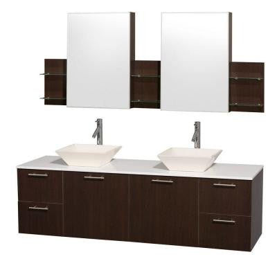 Amare 72 in. Double Vanity in Espresso with Man-Made Stone Vanity Top in White and Bone Porcelain Sinks