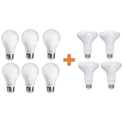 65W Equivalence Soft White Multi Application BR30 and A19 LED Light Bulb Value Pack