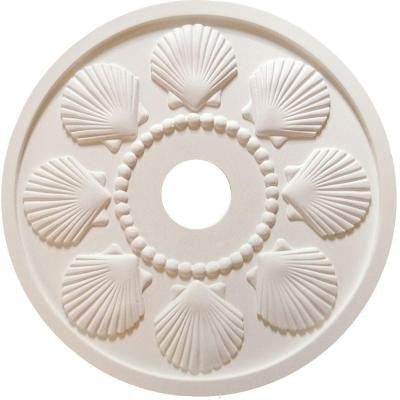 MRC Collection 18 in. x 18 in. x 1/2 in. Seashell Lightweight Resin Primed White Ceiling Medallion
