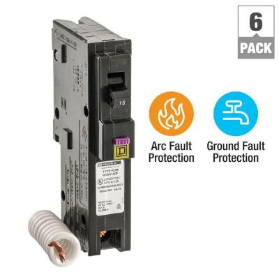 Homeline 15 Amp Single-Pole Dual Function (CAFCI and GFCI) Circuit Breaker (6-Pack)
