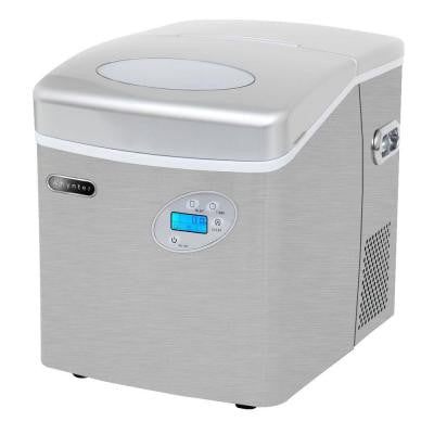49 lb. Portable Ice Maker in Stainless Steel with Water Connection