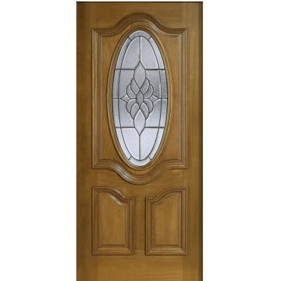 36 in. x 80 in. Mahogany Type 3/4 Oval Glass Prefinished Walnut Beveled Patina Solid Wood Front Door Slab