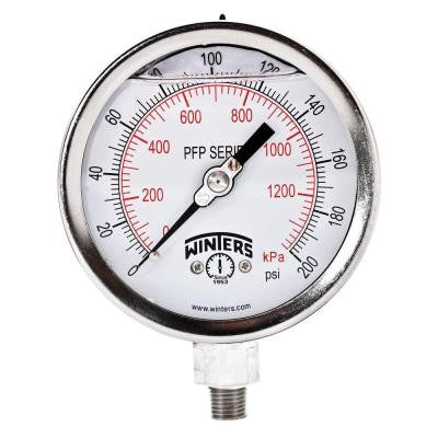 PFP Series 4 in. Stainless Steel Liquid Filled Case Pressure Gauge with 1/4 in. NPT LM and Range of 0-200 psi/kPa