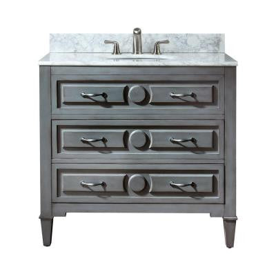 Kelly 37 in. W x 22 in. D x 35 in. H Vanity in Grayish Blue with Marble Vanity Top in Carrara White and White Basin